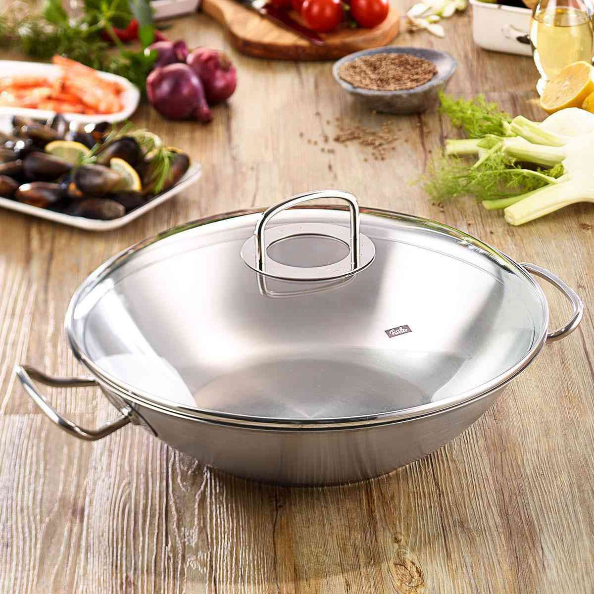 Open Box - originial-profi collection® Wok with Glass Lid, 13.8 Inch