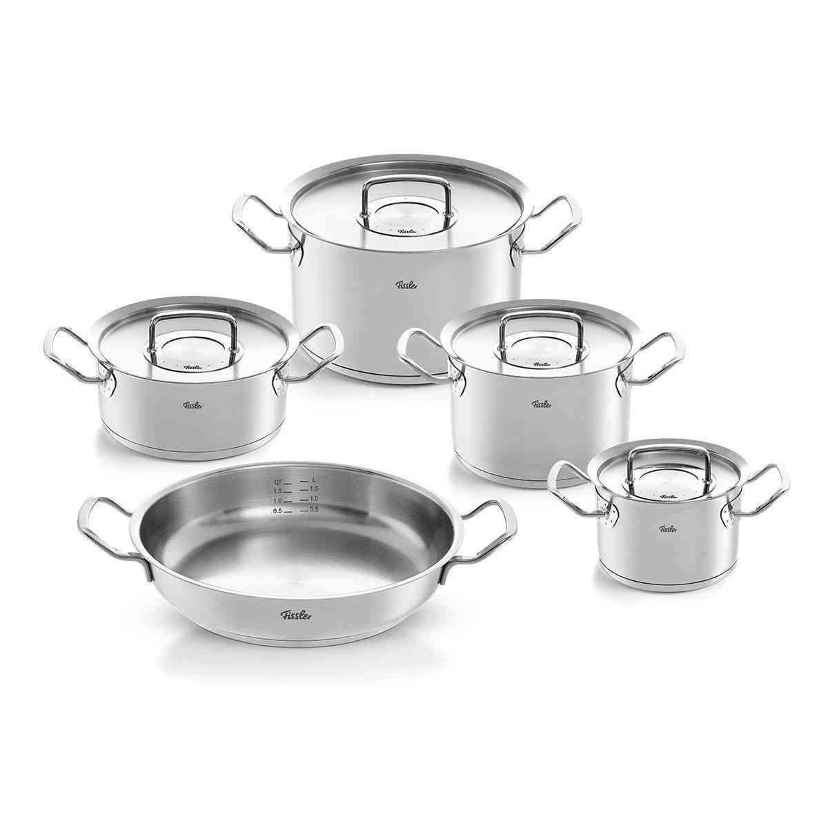 original-profi collection – 5-teiliges Set aus Kochtöpfen,  Bratentopf und Servierpfanne