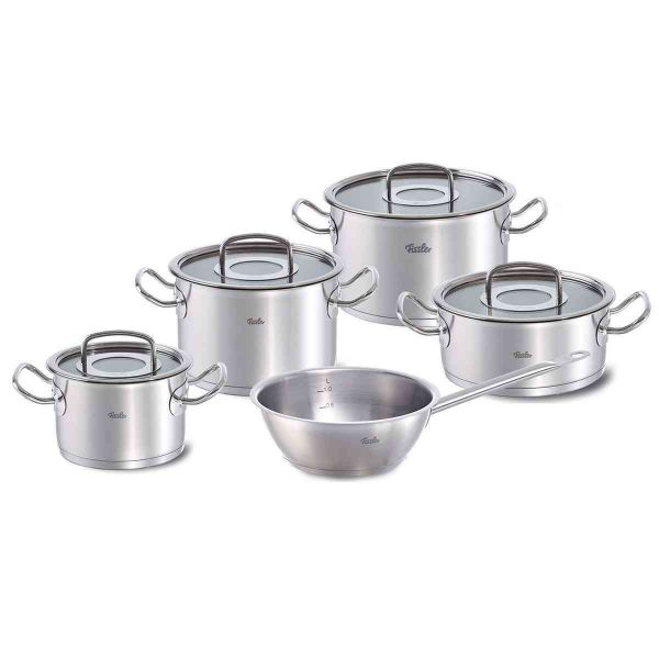 original-profi collection 5-piece set with glass lid and conical pan