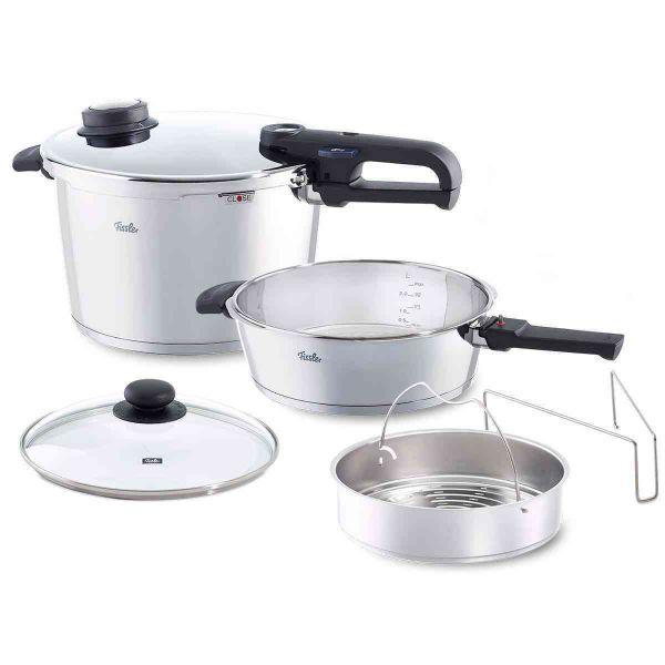 vitavit® premium 6-Piece Pressure Cooker and Skillet Set, 8.5 Quart & 4.2 Quart