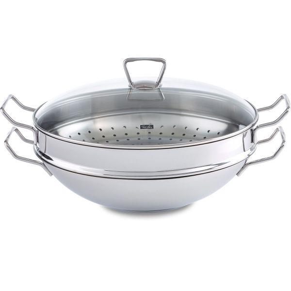 nanjing wok with glass lid and steam inset 36 cm